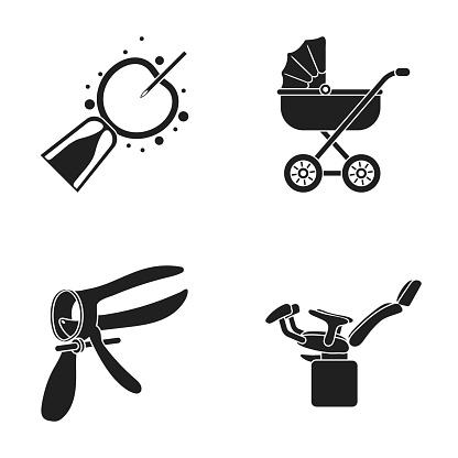 Artificial Insemination Baby Carriage Instrument Gynecological Chair Pregnancy Set Collection Icons In Black Style Vector Symbol Stock Illustration Web — стоковая векторная графика и другие изображения на тему Без людей