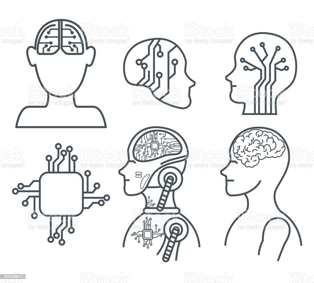artificial inteligence technology set icons vector art illustration