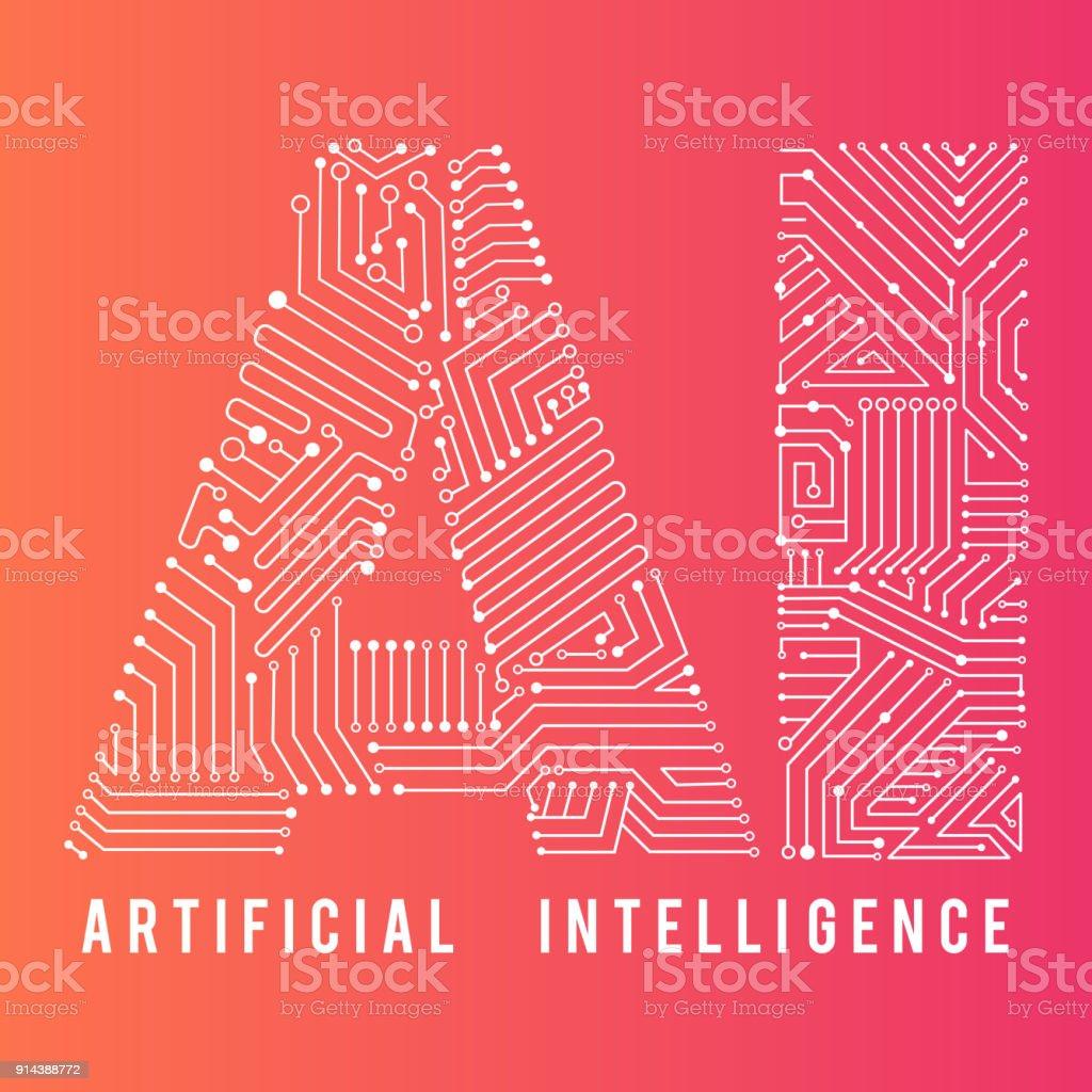 Palabra de inteligencia artificial para el diseño de la educación - ilustración de arte vectorial
