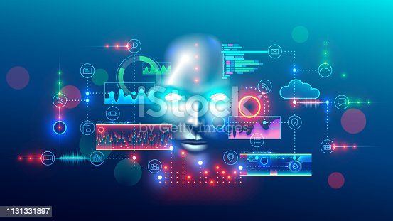 Artificial intelligence abstract concept banner. Digital mind analyzes data information. AI connection with neural network, solves business tasks. Cyber face looking at hud graphic interface.