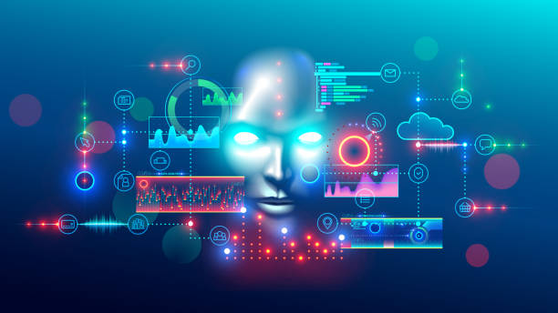 Artificial intelligence abstract concept banner. analyzes data. AI. hud graphic interface. Artificial intelligence abstract concept banner. Digital mind analyzes data information. AI connection with neural network, solves business tasks. Cyber face looking at hud graphic interface. automated stock illustrations