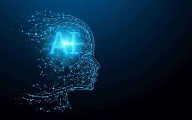ilustraciones, imágenes clip art, dibujos animados e iconos de stock de ai - inteligencia artificial. cerebro digital ai. concepto de robótica. cara humana hecha de polígono. vector de ilustración - inteligencia artificial