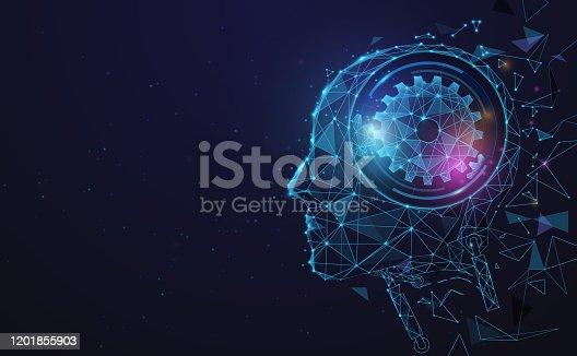 istock AI, Artificial intelligence. Ai digital brain. Robotics concept. Human face made from polygon. Illustration vector 1201855903