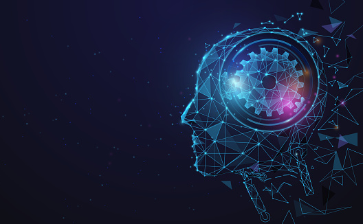 AI, Artificial intelligence. Ai digital brain. Robotics concept. Human face made from polygon. Illustration vector
