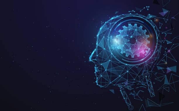 ilustraciones, imágenes clip art, dibujos animados e iconos de stock de inteligencia artificial. cerebro digital ai. concepto de robótica. cara humana hecha de polígono. vector de ilustración - inteligencia artificial
