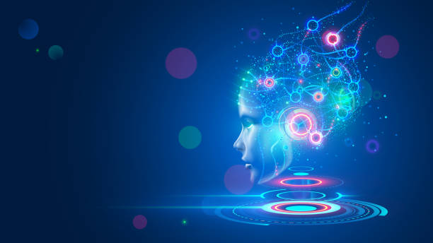 Artificial intelligence. AI head with neural network brain hanging over virtual digital podium. Wise female face in cyberspace. Machine learning. Mind of cyborg or robot in vr reality. Future concept vector art illustration