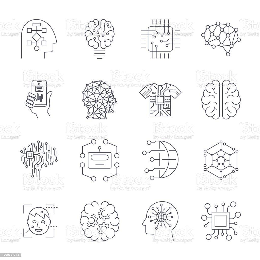 Artificial Intelligence, AI icon set vector art illustration