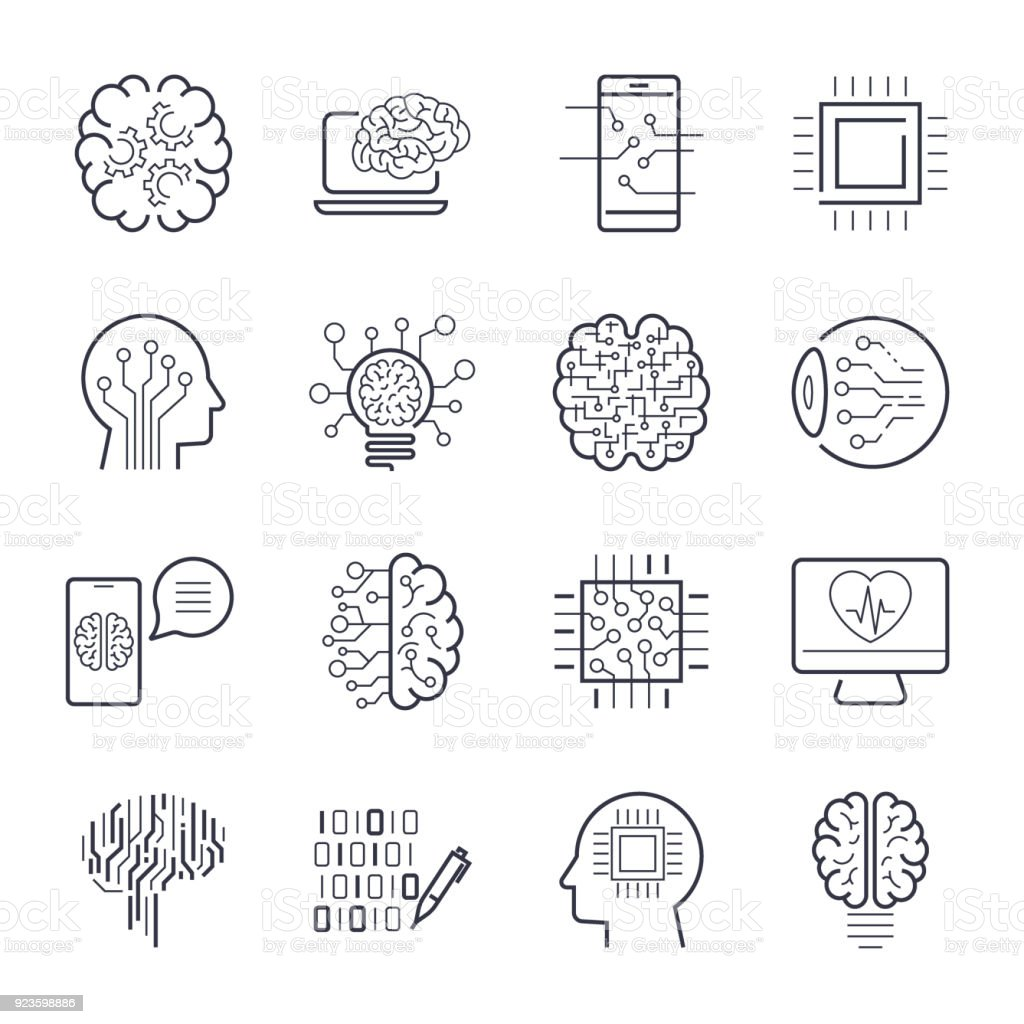 Artificial intelligence AI line icons. Robot intellect and cyborg chip mind signs. Innovation technology manufacturing and programming. Vector illustration. Editable Stroke vector art illustration