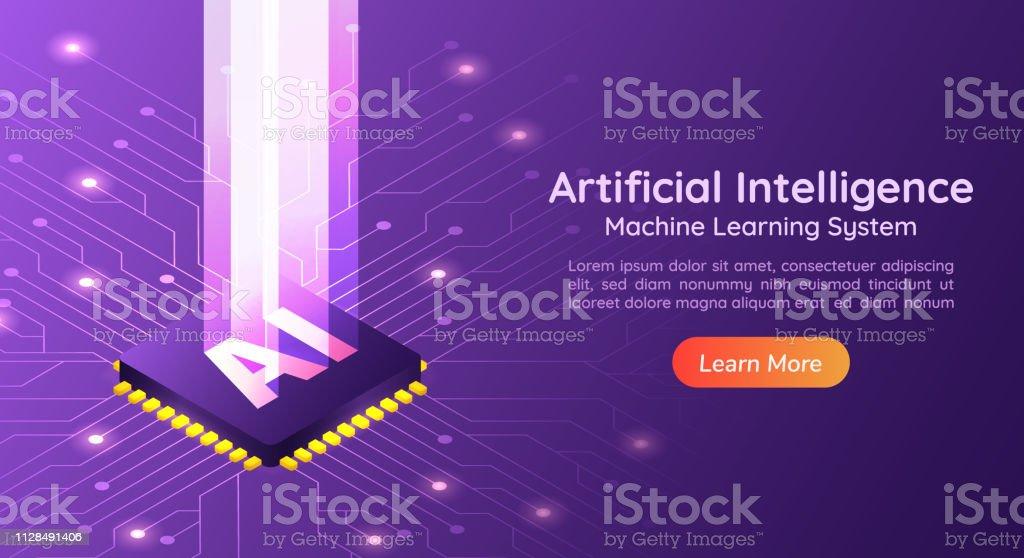 Artificial Intelligence AI with light pillar on computer circuit board vector art illustration