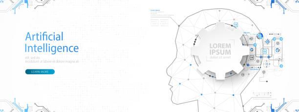 Künstliche Intelligenz (KI) und Big Data-Konzept. Maschine Cyber-Geist.  Menschliches Gesicht mit binärem Datenfluss. Technologie-Vektor-Hintergrund. – Vektorgrafik