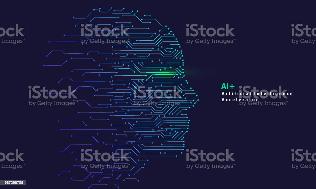 Artificial Intelligence and Big Data, Internet of Things Concept vector art illustration