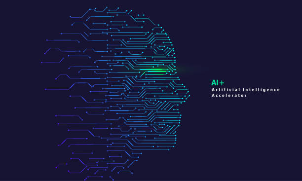 artificial intelligence and big data, internet of things concept - ai stock illustrations