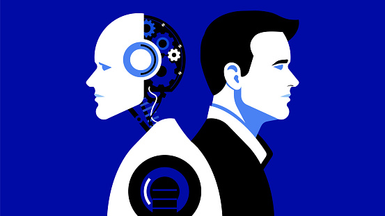 Artificial intelligence and Business man. Vector stock illustration