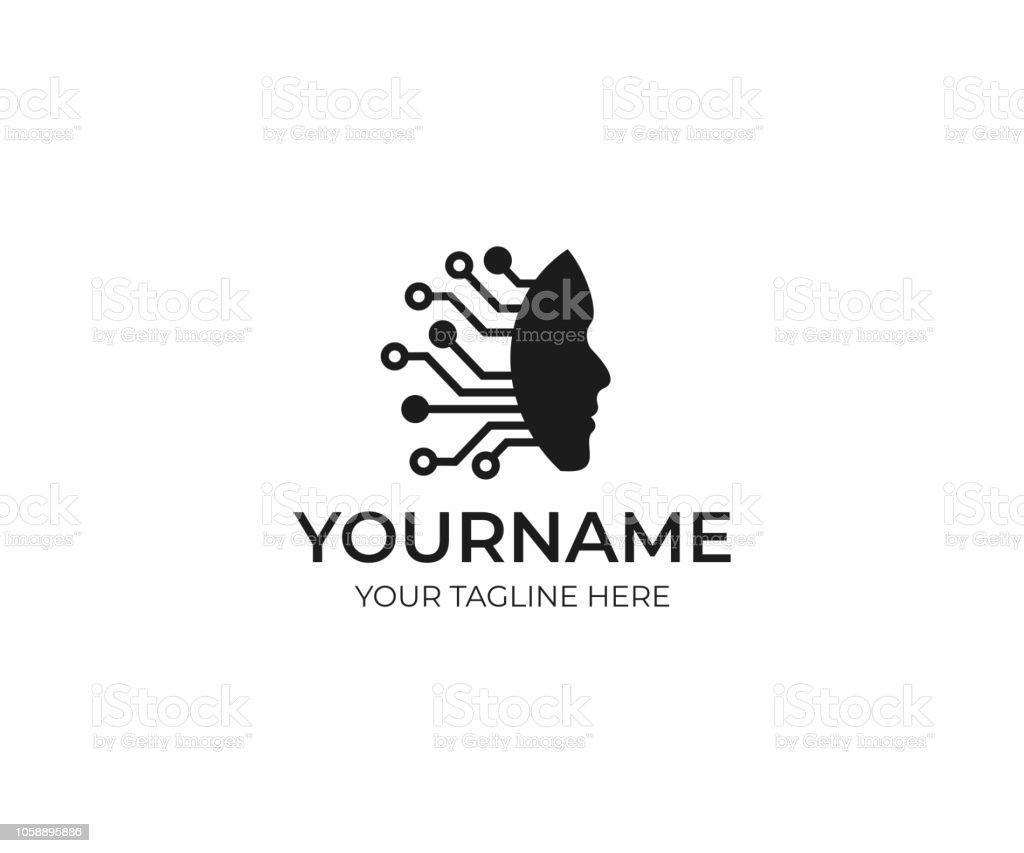 Intelligence artificielle et création de logo de visage humain. Grille de circuits électroniques et communications vector design. Illustration de CPU esprit technologie - Illustration vectorielle