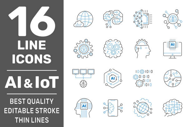 Artificial Intelligence and IoT thin icons set. AI, Iot, IIoT, Factory 4.0. Binary Code, Robot, Microchip, Smart Brain and other icons. Editable Stroke. EPS 10 vector art illustration