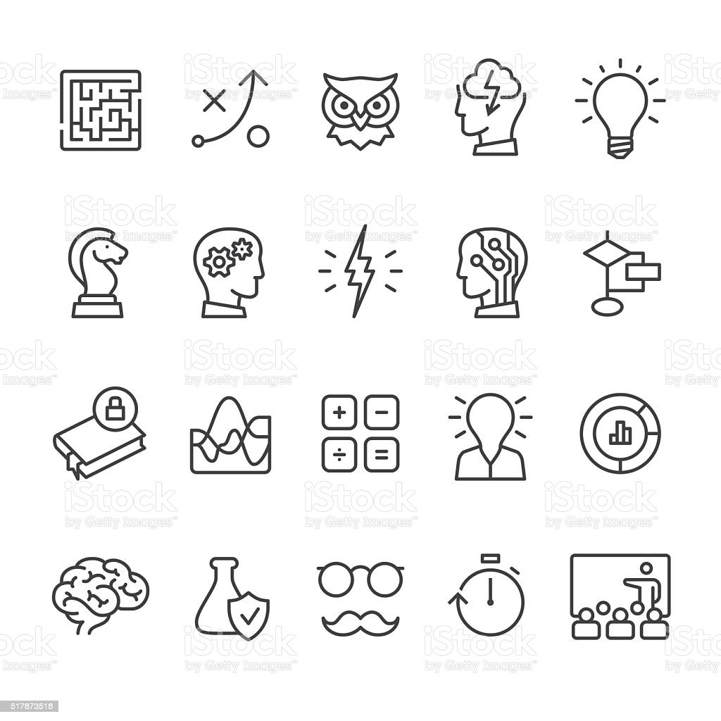Artificial Intelligence and Mind related vector icon set. vector art illustration