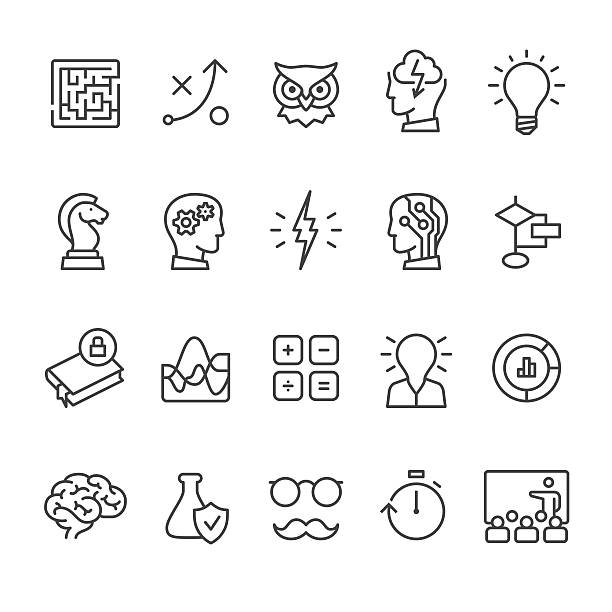 artificial intelligence and mind related vector icon set. - science class stock illustrations, clip art, cartoons, & icons