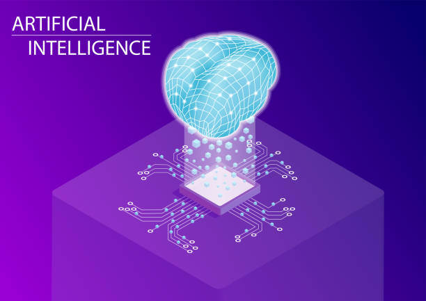 Artificial intelligence and neural network concept. 3d isometric vector illustration. Artificial intelligence and neural network concept. 3d isometric vector illustration. machine learning stock illustrations