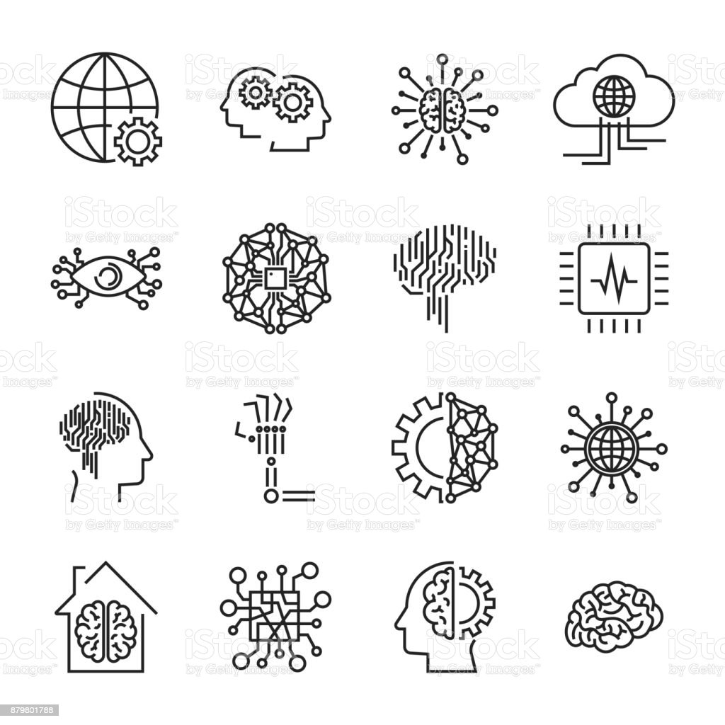 Artificial intelligence and robot related vector icon set. It co vector art illustration