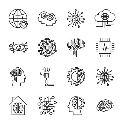 Artificial Intelligence And Robot Related Vector Icon Set ...