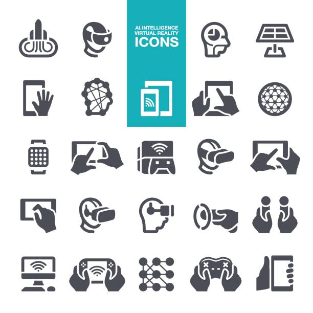 Artificial intelligence and Virtual reality icons vector art illustration