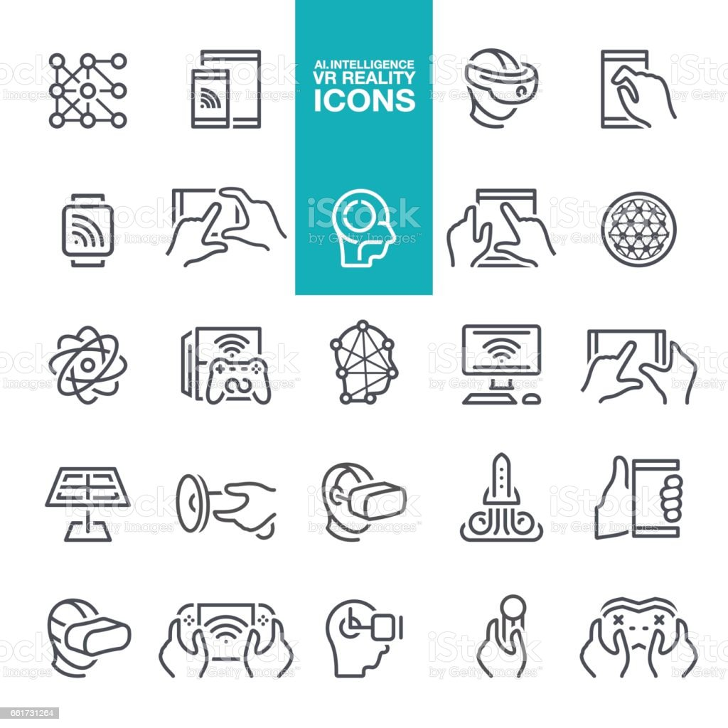 Artificial intelligence and Virtual reality line icons vector art illustration