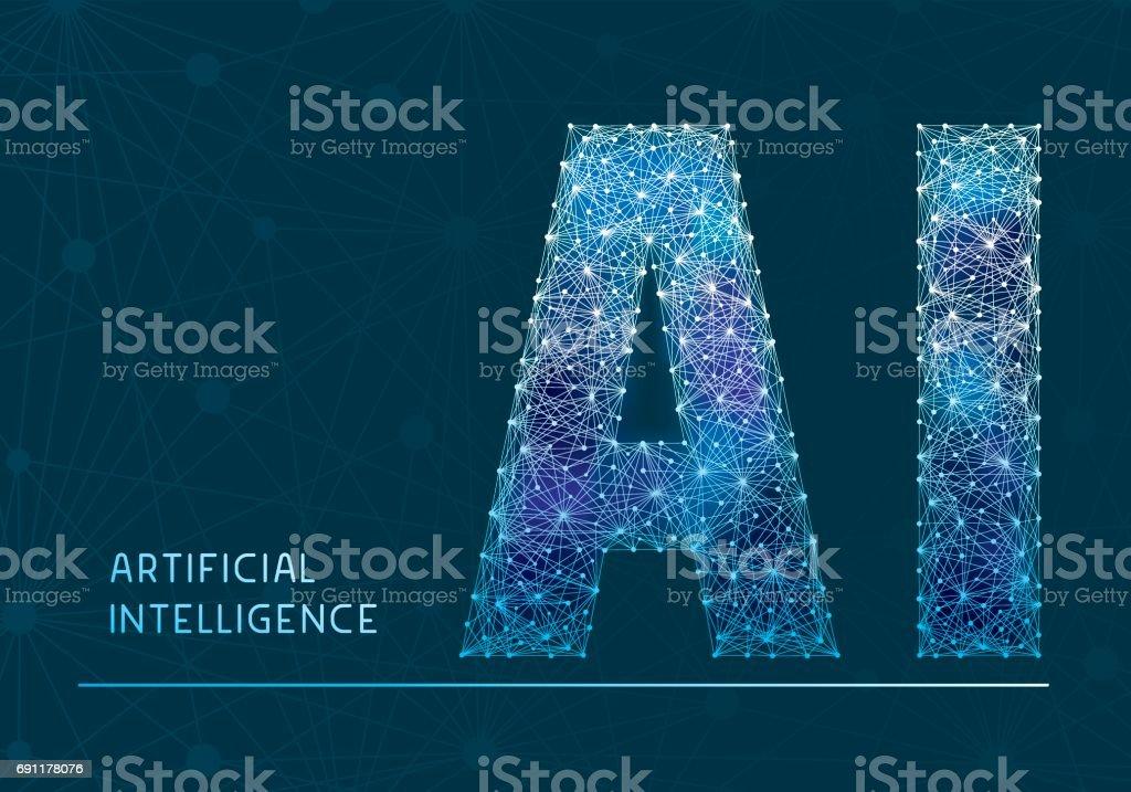 Bandera de inteligencia artificial - ilustración de arte vectorial