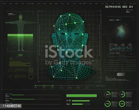 Artificial intelligence. Biometric identification or Facial recognition system concept in style HUD GUI. Concept of biometric technology, digital