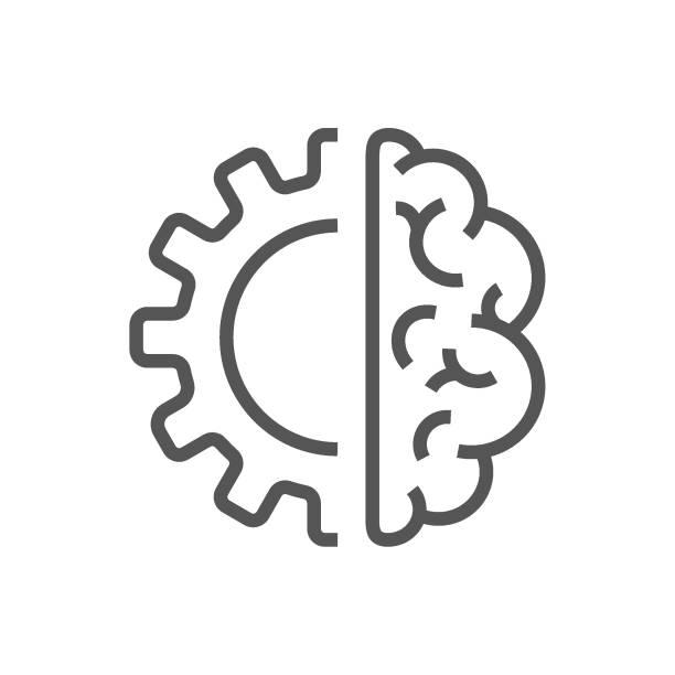 Artificial intelligence brain icon - vector AI technology concept symbol or design element. EPS 10 vector art illustration