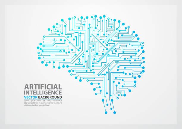künstliche intelligenz-gehirn-abbildung - farbchips stock-grafiken, -clipart, -cartoons und -symbole