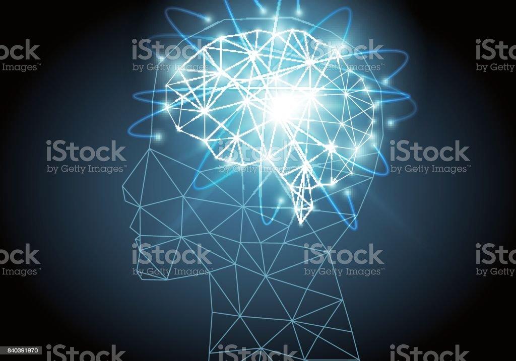 Artificial intelligence brain vector art illustration