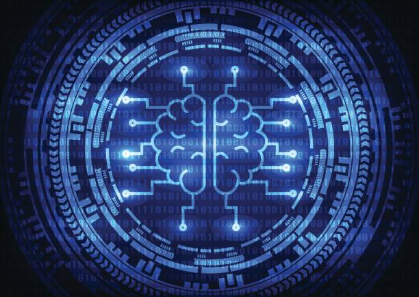 Artificial intelligence brain with ring gears on binary code background. Vector illustration technology abstract background. vector art illustration