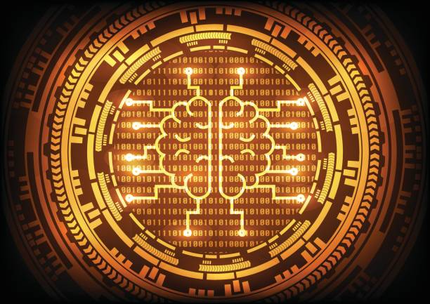 Artificial intelligence brain with ring gold gears on binary code background. Vector illustration technology abstract background. vector art illustration