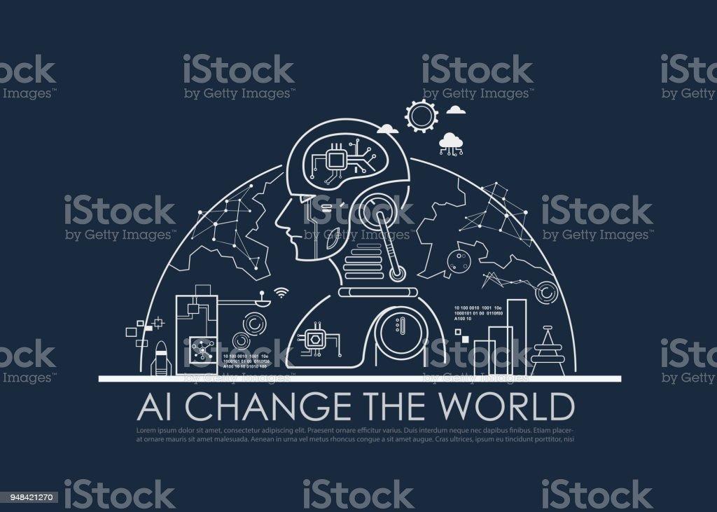 Inteligencia artificial (IA) cambiar el concepto global medio mundo, máquina y profundo aprendizaje, redes neuronales, computación nube y placa de circuito impreso (PCB). Diseño plano de la línea de vector poster. - ilustración de arte vectorial