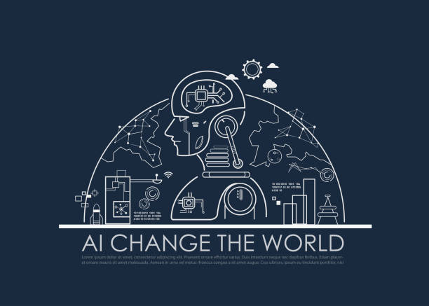 Artificial intelligence (AI) change the world half global concept, machine and deep learning, cloud computing, neural networks and printed circuit board (PCB). Vector line flat design to poster. vector art illustration