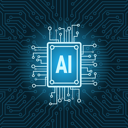 Artificial Intelligence Chip On Circuit Motherboard Background Modern Technology Concept