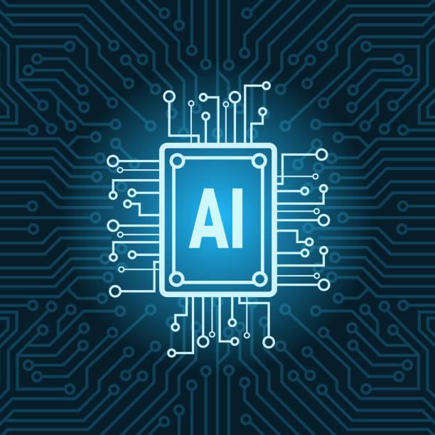 yapay zeka çipi devre anakart arka plan modern teknoloji kavramı - bilgisayar yongası stock illustrations