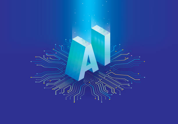 artificial intelligence chip - ai stock illustrations