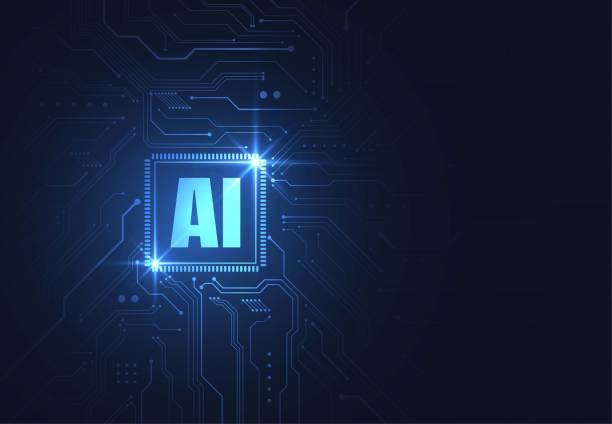 ウェブ、バナー、カード、カバーのための未来的なコンセプト技術のアートワークの回路基板上の人工知能チップセット。ベクトルイラスト - ai点のイラスト素材/クリップアート素材/マンガ素材/アイコン素材