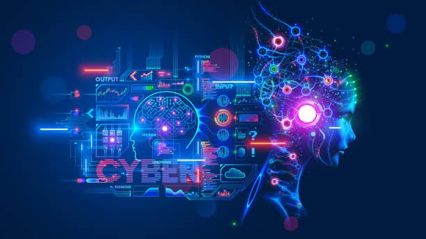 AI. Artificial intelligence. Computer neural network. Deep machine learning. Robot or Cybog Head. vector art illustration