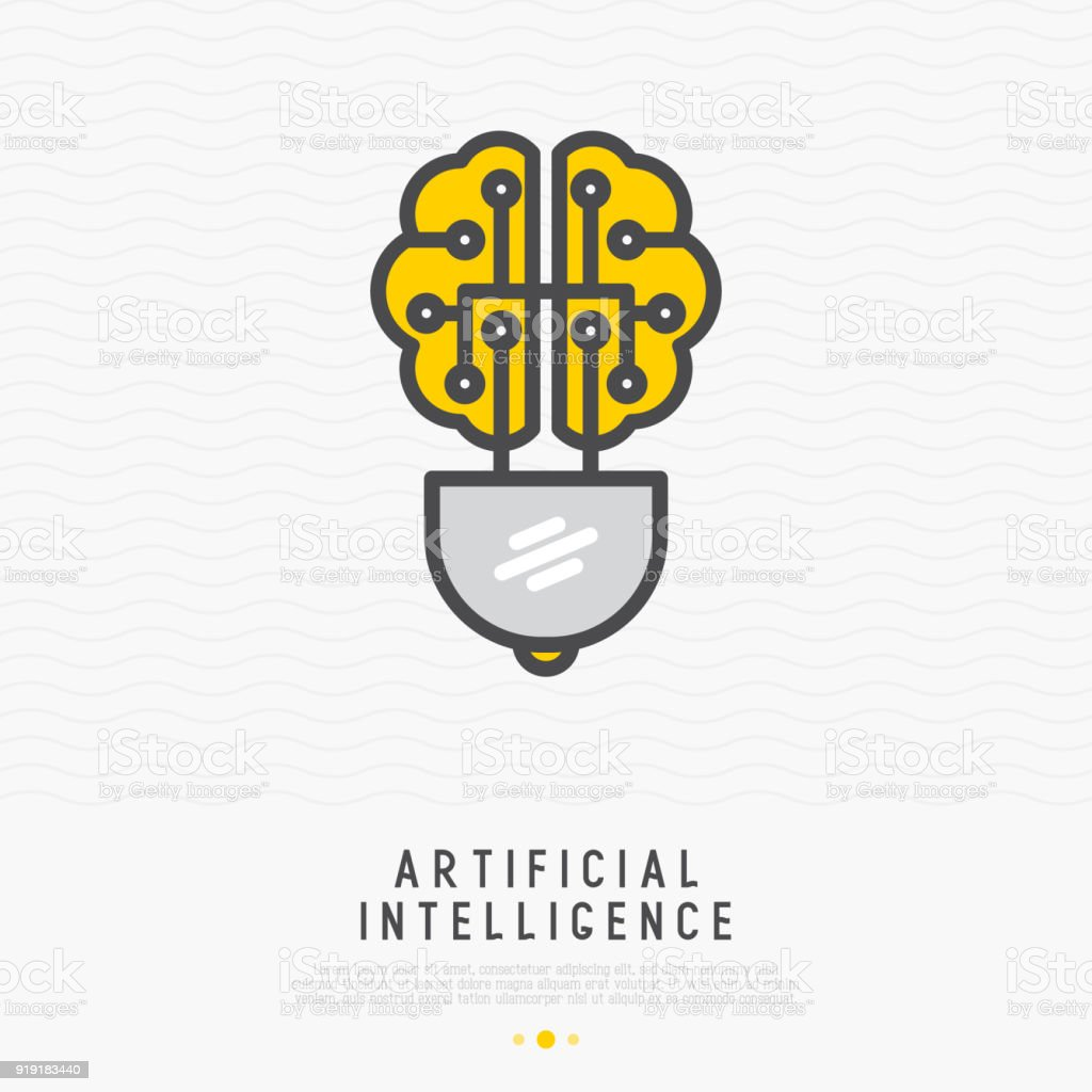Artificial intelligence concept: brain in shape of lightbulb thin line icon. Modern vector illustration, logo for machine learning innovation. vector art illustration