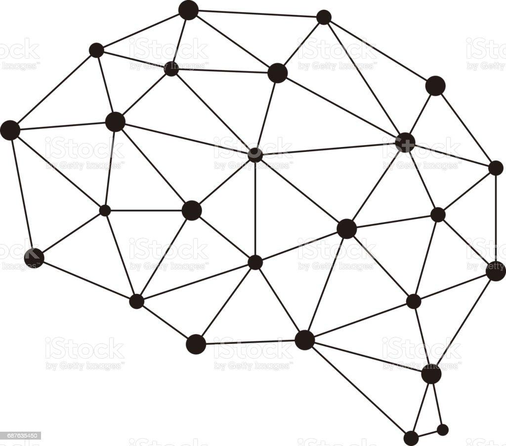 Artificial intelligence concept. Circuit board brain logo icon, high tech style, vector illustration vector art illustration