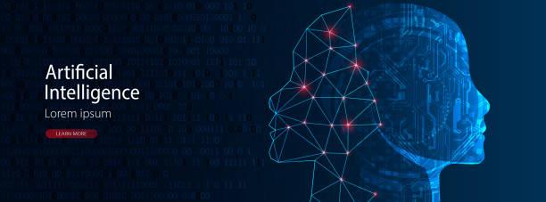 Künstliche Intelligenz Konzept.  Kreatives Gehirnkonzept Hintergrund. Vektor-Wissenschaft-Illustration. – Vektorgrafik
