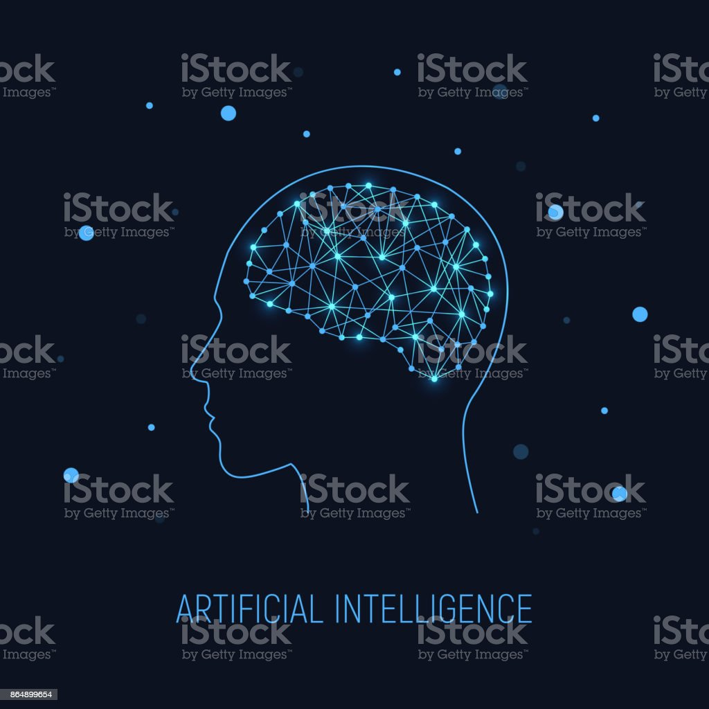 Artificial intelligence concept. Cybernetic brain in electronic cyberspace. Science, technology background. vector art illustration