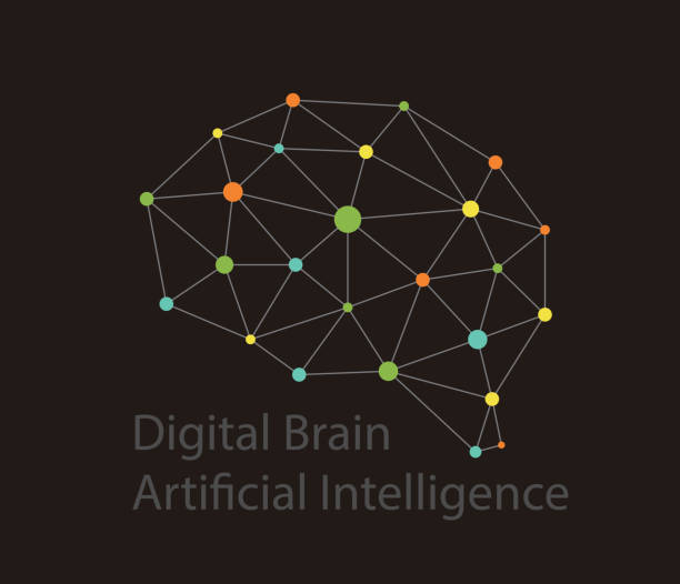 Artificial intelligence concept. Digital dot circuit board brain icon, high tech style, vector illustration vector art illustration