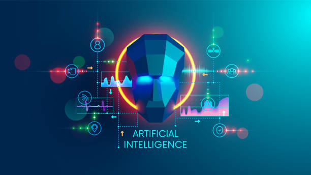 Artificial intelligence concept. digital technology and machine learning cyber mind. AI analysis the science or social data and computing future forecast. vector art illustration