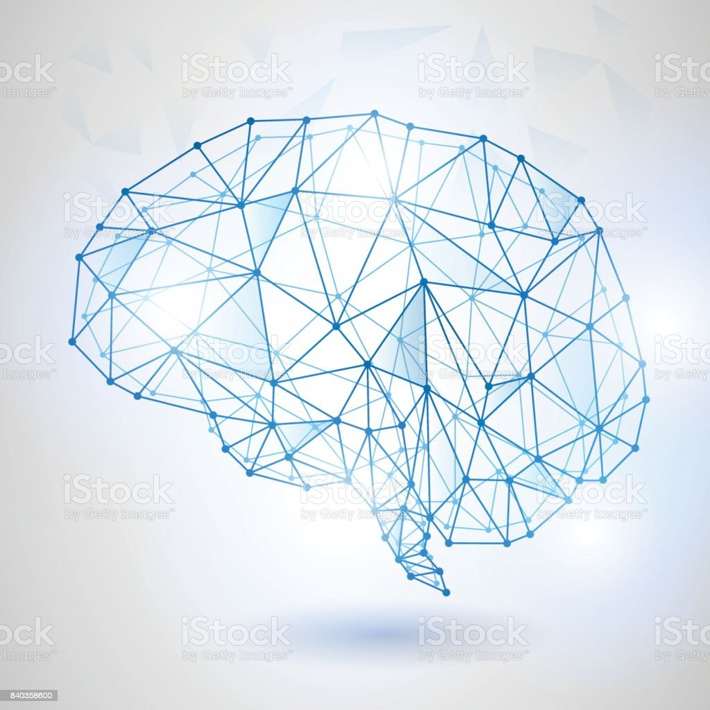 Artificial intelligence concept. Dot circuit board brain icon icon, high tech style vector art illustration