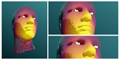 Artificial intelligence concept. Face recognition. Abstract digital human head. Futuristic background. Vector Illustration for advertising, marketing or presentation.