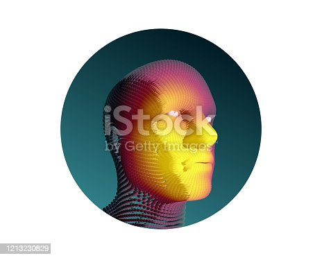 624717328 istock photo Artificial intelligence concept. Face recognition. Abstract digital human head. Futuristic background. Vector Illustration for advertising, marketing or presentation. 1213230829
