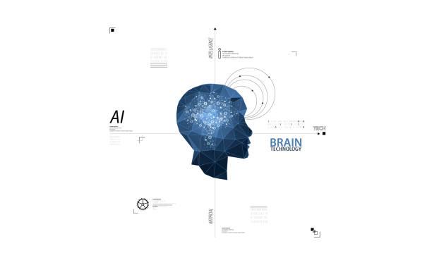 Künstliche Intelligenz Konzept. Technologie-Hintergrund. Vector Science Illustration – Vektorgrafik